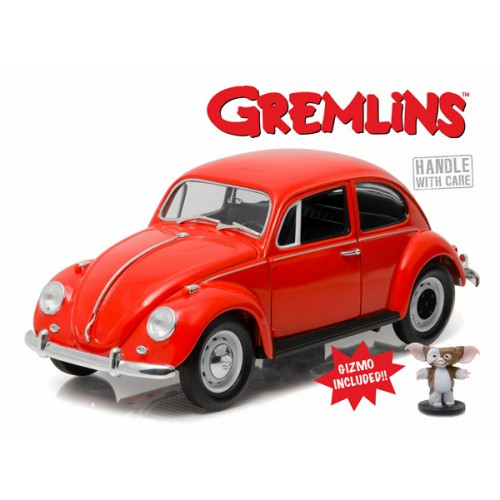1967 VOLKSWAGEN BEATLE WITH GIZMO FIGURE GREMLINS 1984 DIECAST 1/18 SCALE VEHICLE 1
