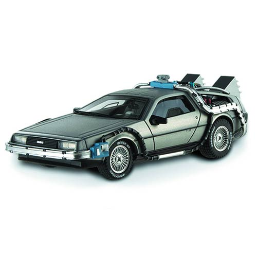 BACK TO THE FUTURE II DELOREAN TIME MACHINE WITH MR. FUSION HOTWHEELS HERITAGE DIECAST 1/18 SCALE VEHICLES 1