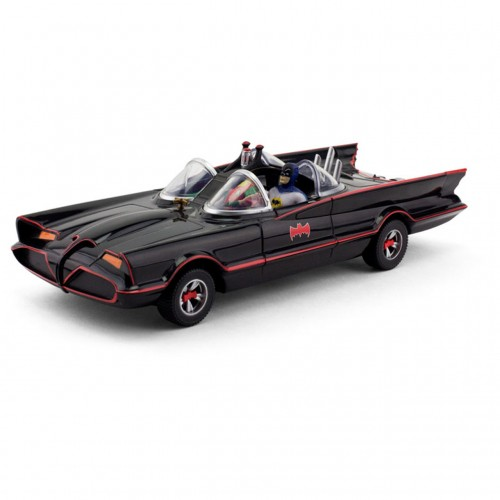 BATMAN 1966 TV SERIES BATMOBILE 10 INCH WITH BENDABLE FIGURES 1