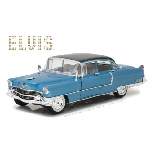 ELVIS PRESLEY 1955 CADILLAC FLEETWOOD SERIES 60 BLUE CADILLAC DIECAST 1/18 SCALE VEHICLE 1