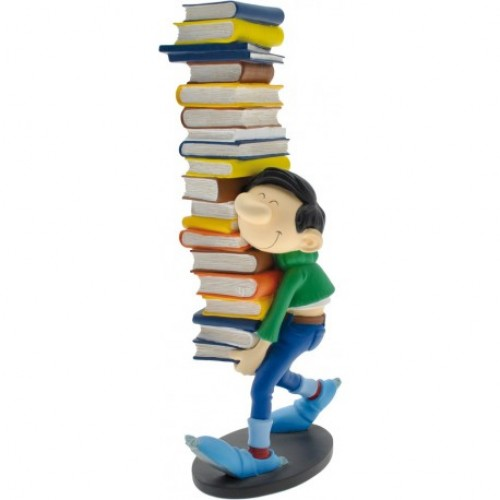 GASTON LAGAFFE HOLDING A BUNCH OF BOOKS RESIN STATUE 1