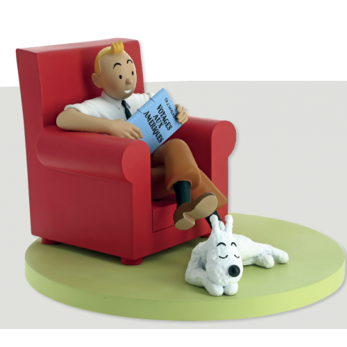 TINTIN AND SNOWY AT HOME RED ARMCHAIR ICON COLLECTION STATUE 1