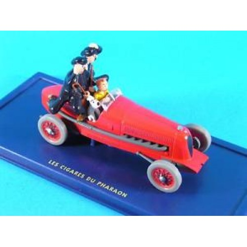 TINTIN CIGARS OF THE PHARAOH RED VEHICLE BLUE BOX 1/43 SCALE 1