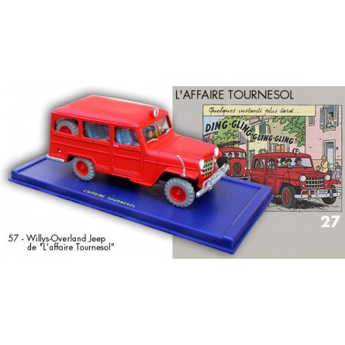 TINTIN THE CALCULUS AFFAIR FIRREMAN JEEP BLUE BOX DIECAST 1/43 SCALE VEHICLE 1