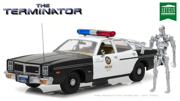 THE TERMINATOR 1977 DODGE MONACO METROPOLITAN POLICE WITH T 800 ENDOSKELETON 1/18 SCALE DIECAST VEHICLE 1