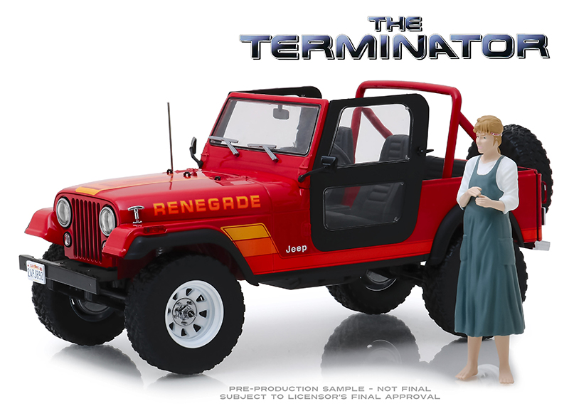 THE TERMINATOR JEEP CJ-7 RENEGADE WITH SARAH CONNOR FIGURE 1/18 SCALE DIECAST VEHICLE 1