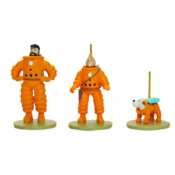 TINTIN MOON MICRO FIGURE SET OF 3: TINTIN, SNOQY AND HADDOCK 1