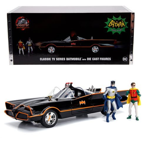 BATMAN BATMOBILE BATMAN 1966 TV SERIES WITH LIGHTS AND BATMAN AND ROBIN FIGURES 1/18 SCALE DIECAST VEHICLE 1